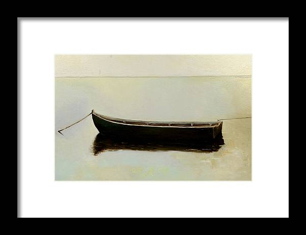 Landscape Boat Quiet Light Framed Print featuring the painting White Day by Raimonda Jatkeviciute-Kasparaviciene