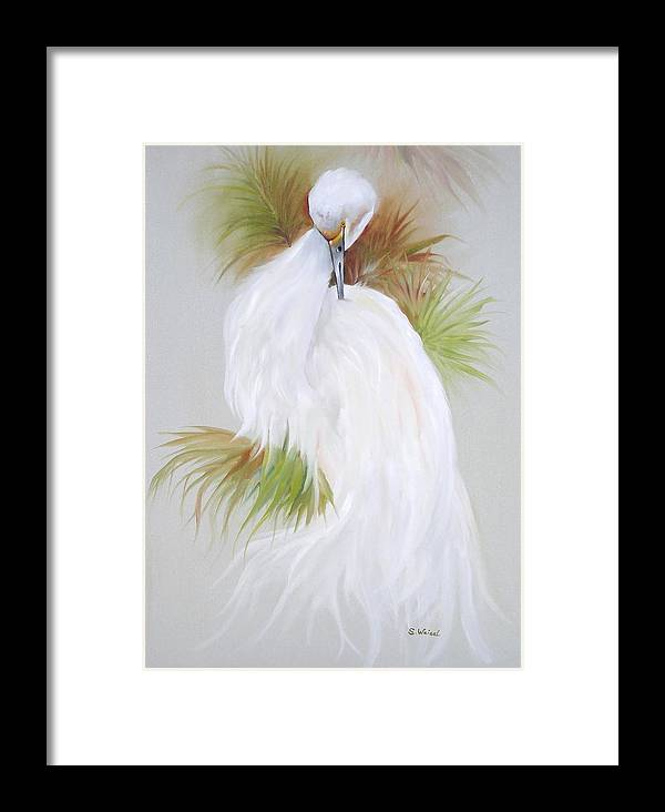 Animal Framed Print featuring the painting White Egret by Sherry Winkler