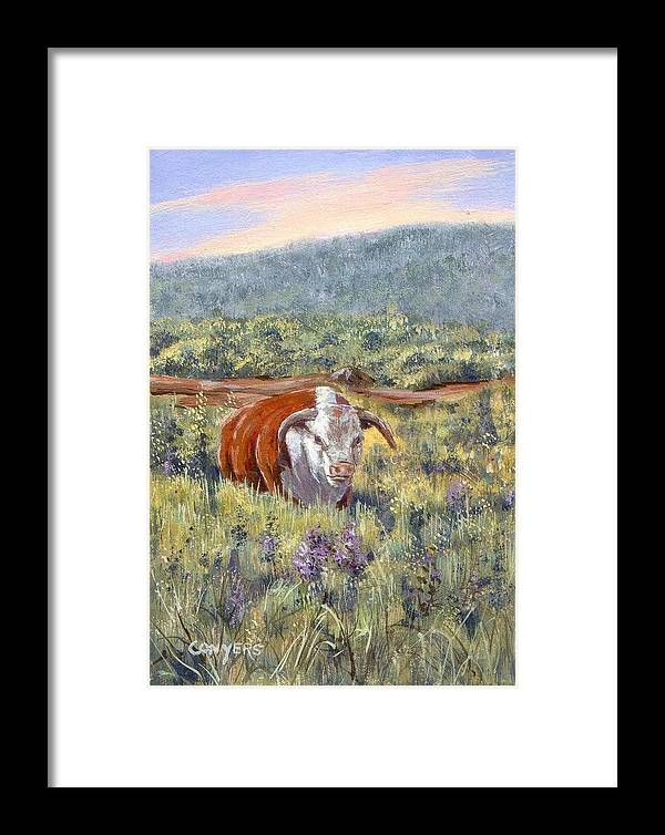 Hereford Bull Framed Print featuring the painting White Face Bull by Peggy Conyers