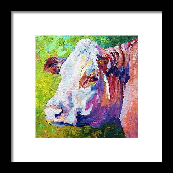 Cows Framed Print featuring the painting White Face Cow by Marion Rose