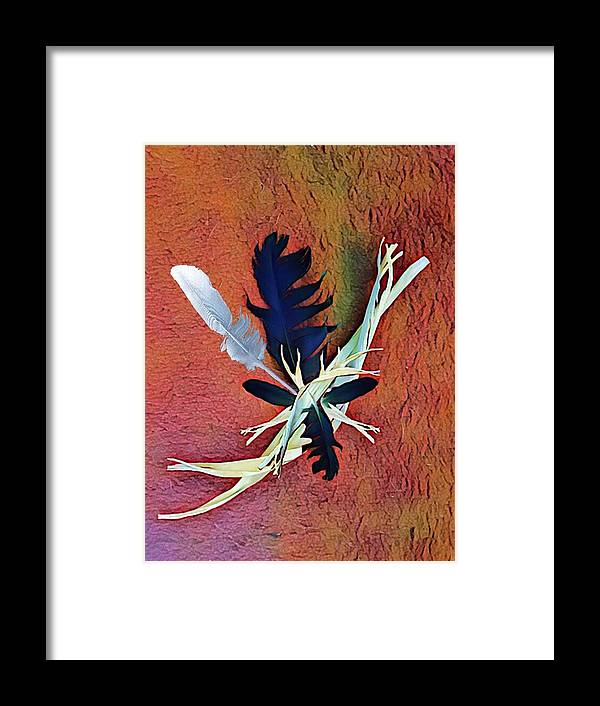 Native Framed Print featuring the digital art White Feather by Rick Purtle
