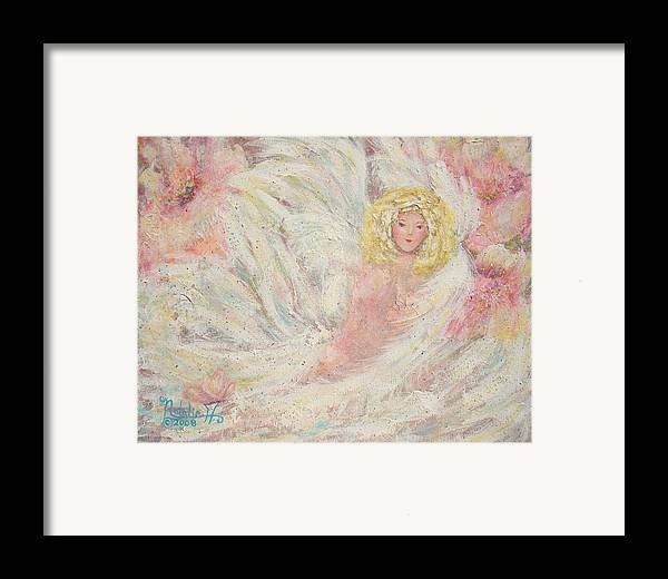 Angel Framed Print featuring the painting White Feathers Secret Garden Angel 4 by Natalie Holland