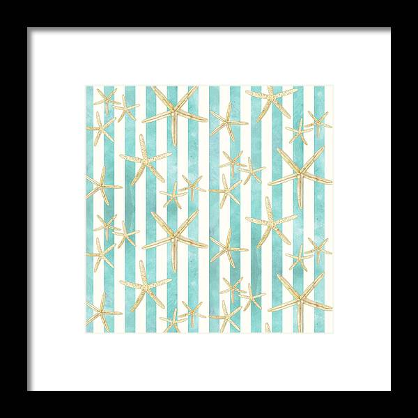 Watercolor Framed Print featuring the painting White Finger Starfish Watercolor Stripe Pattern by Audrey Jeanne Roberts