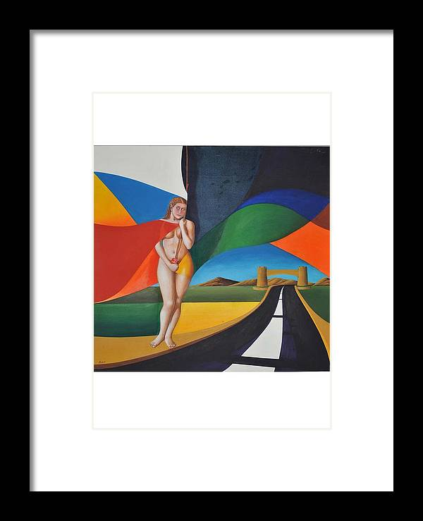Landscape Framed Print featuring the painting White Flag Upon My Door by Mak Art