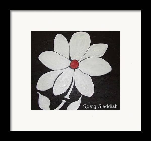 Contemporay Framed Print featuring the painting White Flower by Rusty Woodward Gladdish