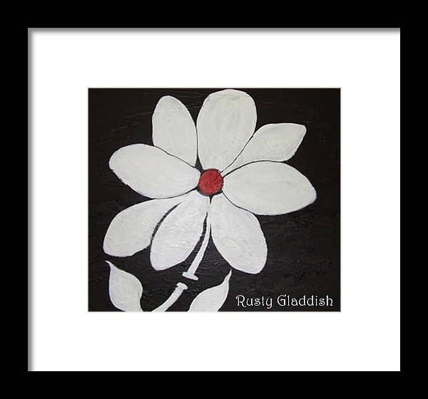 Contemporay Framed Print featuring the painting White Flower by Rusty Gladdish