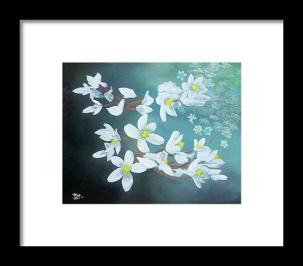 Flowers Framed Print featuring the painting White Flowers by Tony Rodriguez
