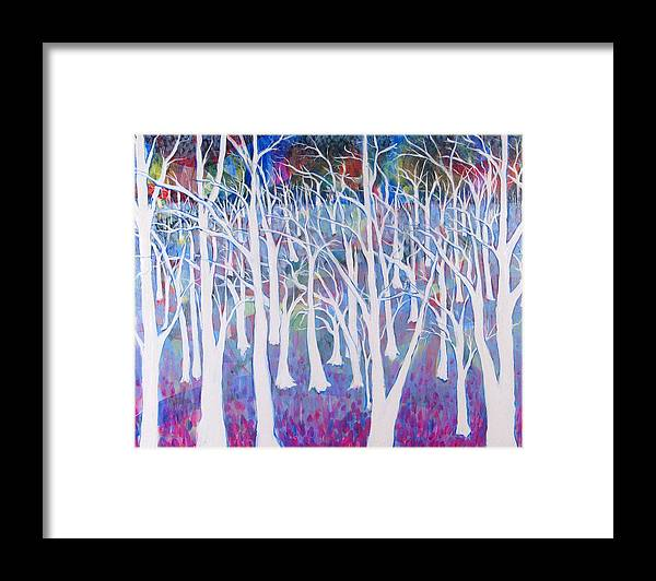 White Framed Print featuring the painting White Forest by Rollin Kocsis
