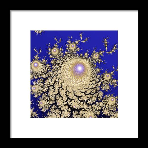 Abstract Framed Print featuring the digital art White Gold Opalescent Fractal Swirl Abstraction by Lenka Rottova