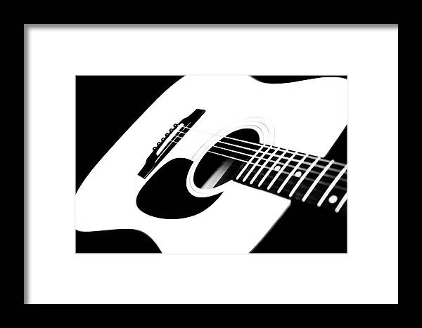 White Guitar Framed Print featuring the photograph White Guitar 4 by Andee Design
