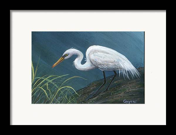 Heron Framed Print featuring the painting White Heron by Peggy Conyers