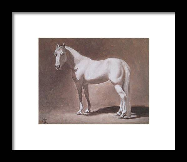 Horse Framed Print featuring the painting White Horse Study by Oksana Zotkina