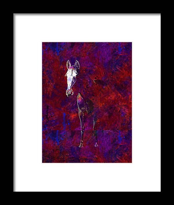 White Framed Print featuring the digital art White Horse White Horse by PixBreak Art