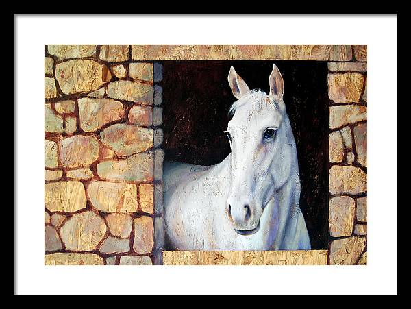 Horse Framed Print featuring the painting White Horse1 by Farhan Abouassali