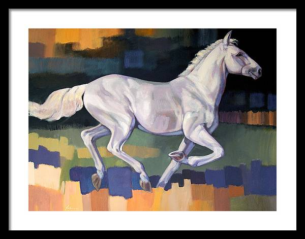 Horse Framed Print featuring the painting White Horse2 by Farhan Abouassali