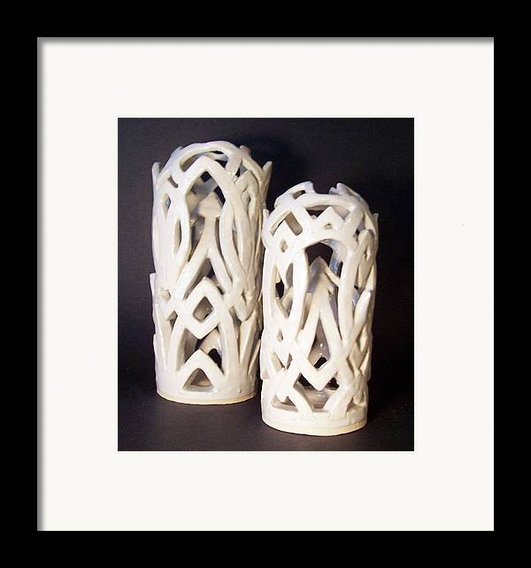 Clay Framed Print featuring the sculpture White Interlaced Sculptures by Carolyn Coffey Wallace