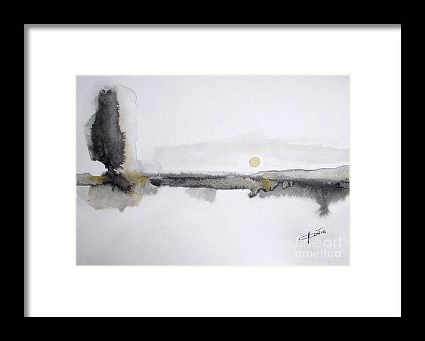 Abstract Landscape Framed Print featuring the painting White Lake Sunset by Vesna Antic
