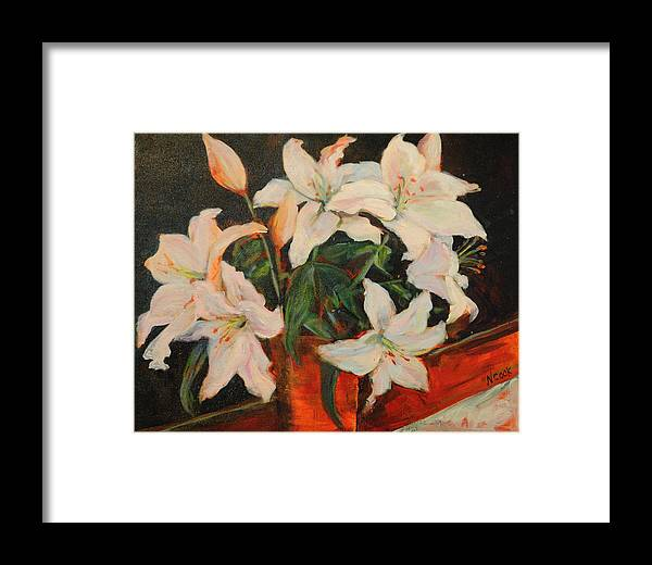 Floral Framed Print featuring the painting White Lilies by Nanci Cook