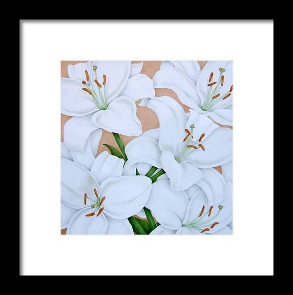 Flowers Framed Print featuring the painting White Lilies by Terri Meyers