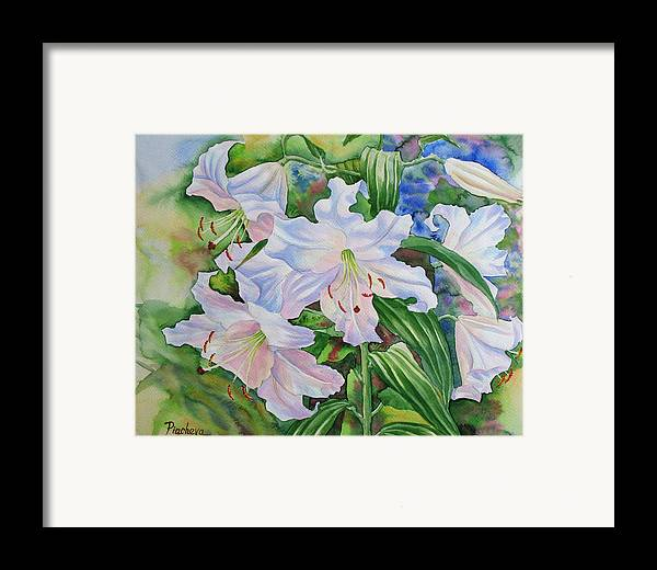 Watercolor Framed Print featuring the painting White Lily. 2007 by Natalia Piacheva