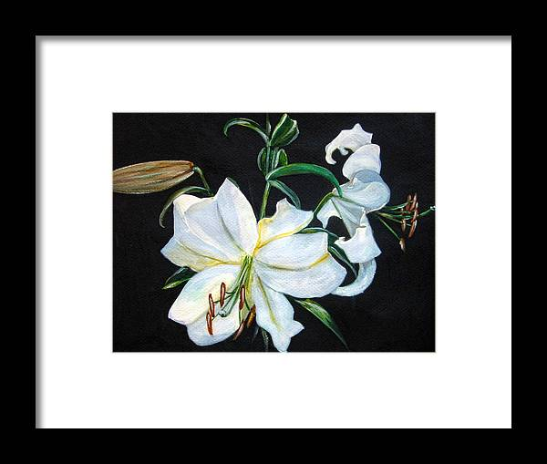 Flowers Framed Print featuring the painting White Lily by Leyla Munteanu