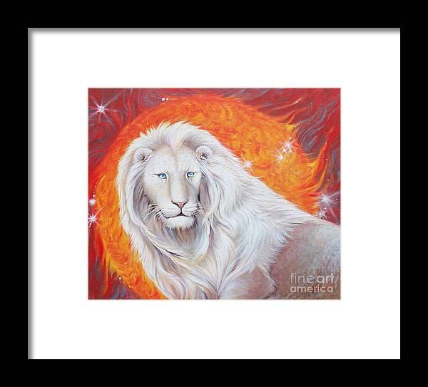 White Lion Sun God Framed Print by Silvia Duran