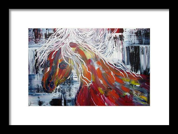 Horse Framed Print featuring the painting White Mane by Maritza Bermudez