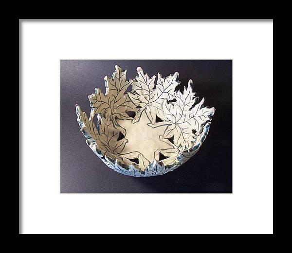 Clay Framed Print featuring the ceramic art White Maple Leaf Bowl by Carolyn Coffey Wallace