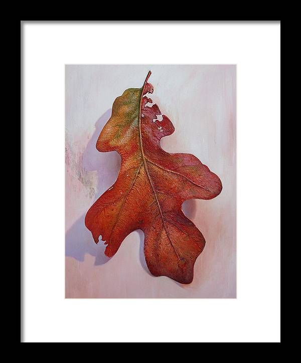 Leave Framed Print featuring the painting White Oak Leave by Hans Droog