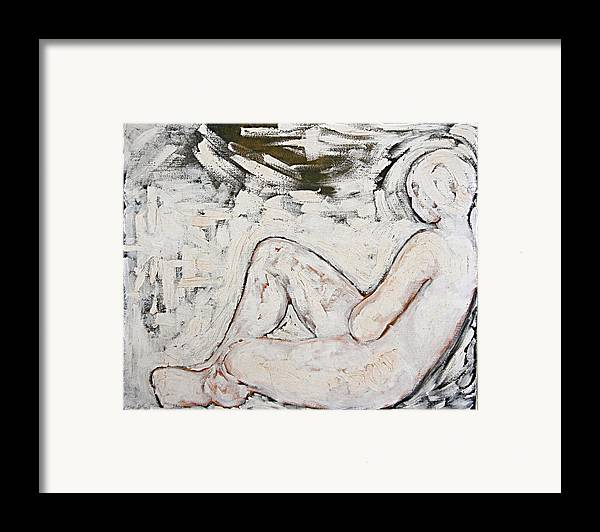 Nude Framed Print featuring the painting White On White by Jeannette Ulrich