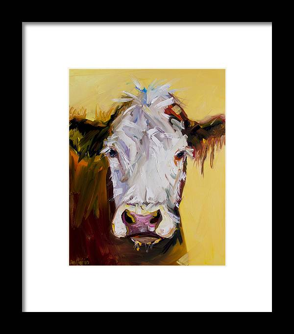 Cow Framed Print featuring the painting White One by Diane Whitehead
