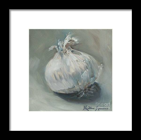 Onion Framed Print featuring the painting White Onion No. 1 by Kristine Kainer