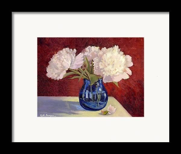 Peonies Framed Print featuring the painting White Peonies by Keith Burgess