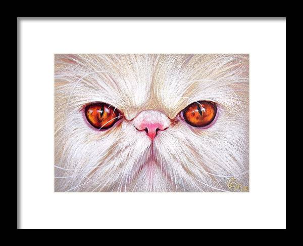 Cat Framed Print featuring the drawing White Persian Cat by Elena Kolotusha
