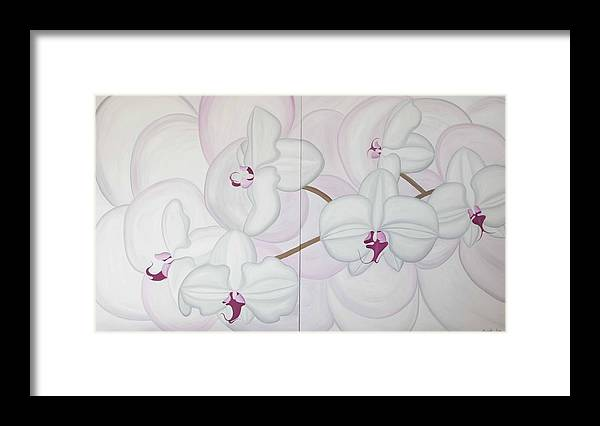 Marinella Owens Framed Print featuring the painting White Pink Orchide by Marinella Owens