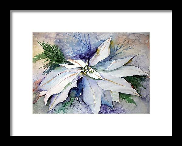 Floral Framed Print featuring the painting White Poinsettia by Mindy Newman