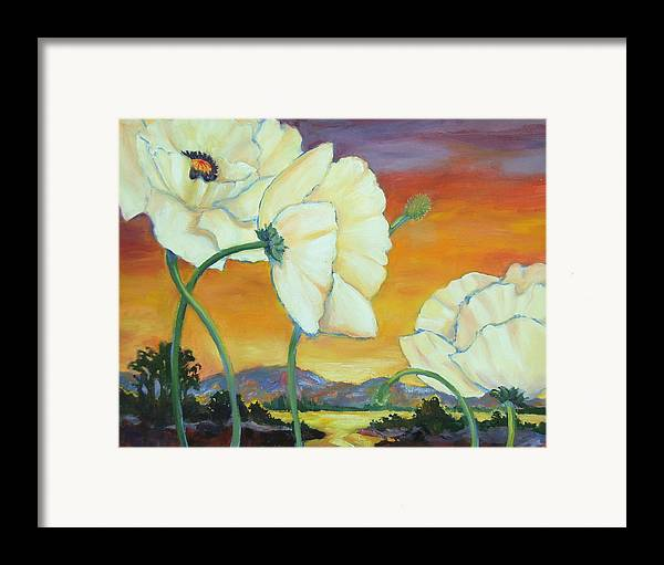 White Poppies Framed Print featuring the painting White Poppies Dancing by Dianna Willman