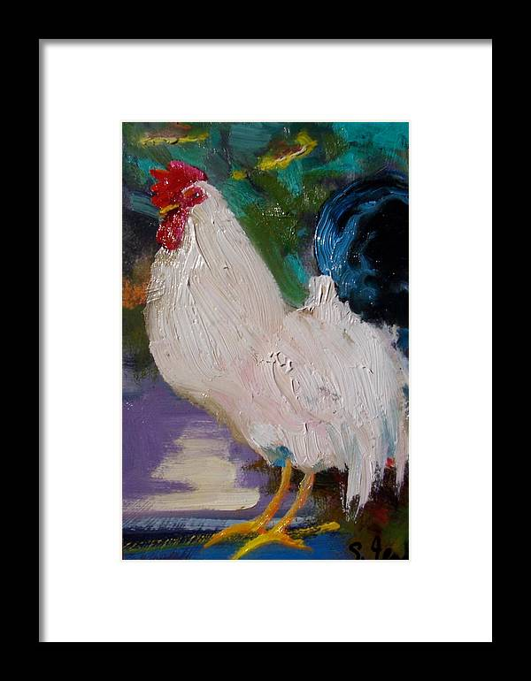 Painting Framed Print featuring the painting White Rooster by Susan Jenkins