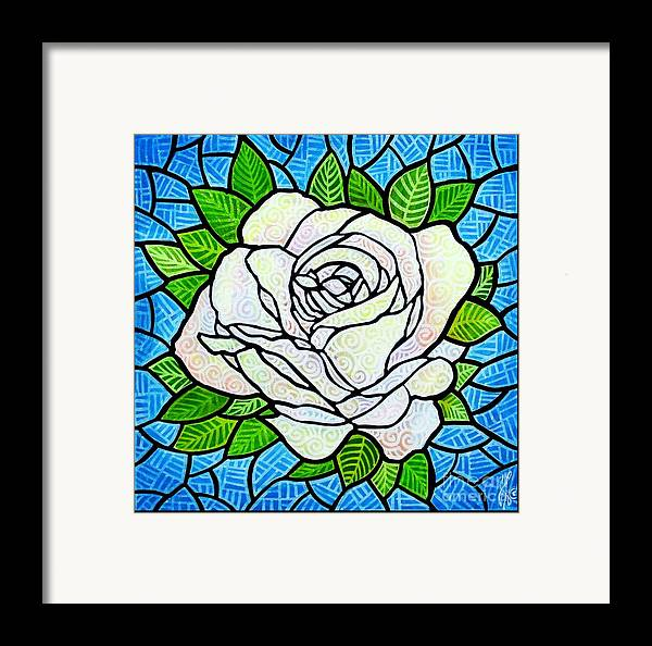 White Framed Print featuring the painting White Rose by Jim Harris
