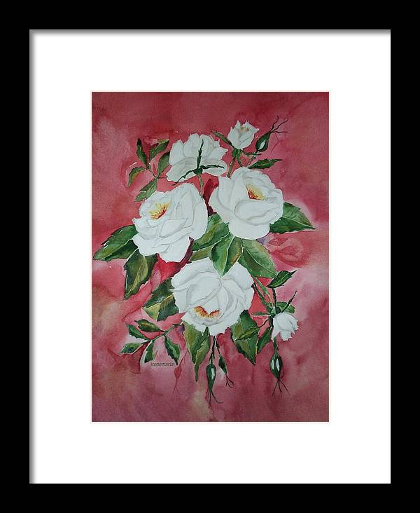 Roses Flowers Framed Print featuring the painting White Roses by Irenemaria Amoroso