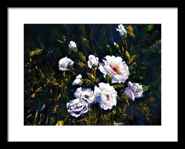 Flowers Framed Print featuring the painting White Roses by Jimmie Trotter