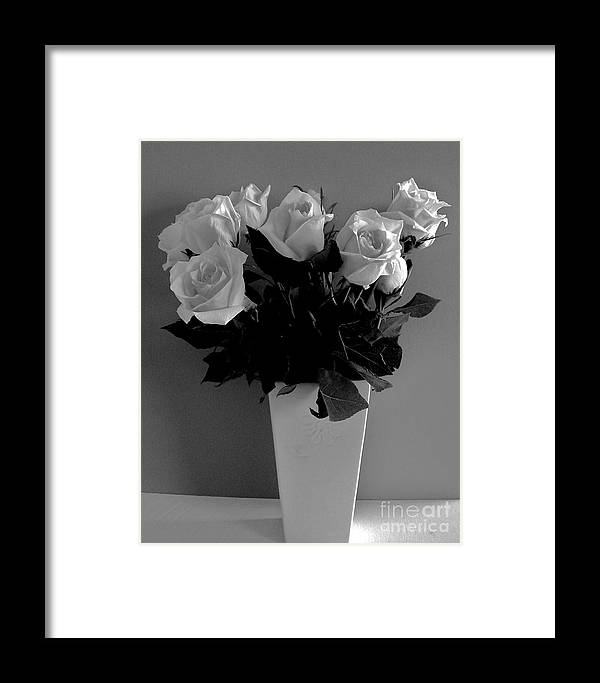Framed Print featuring the photograph White Roses With A Glow by Marsha Heiken
