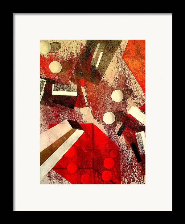 Framed Print featuring the painting White Runaway Dots by Evguenia Men