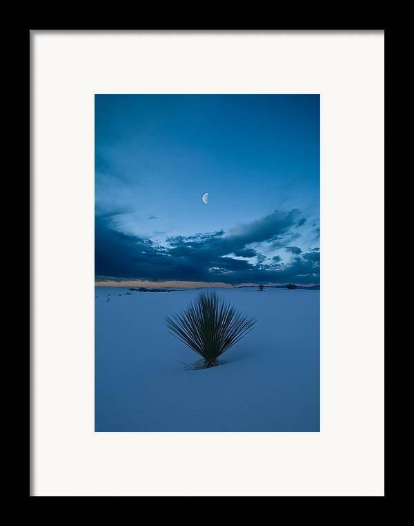 Blue Framed Print featuring the photograph White Sands Moonrise by Steve Gadomski