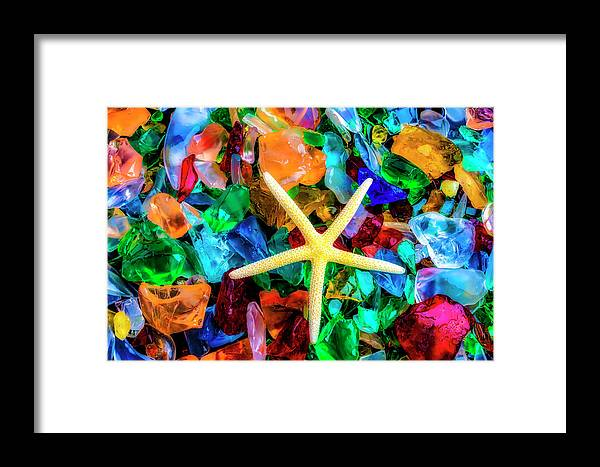 Colorfull Framed Print featuring the photograph White Starfish On Sea Glass by Garry Gay