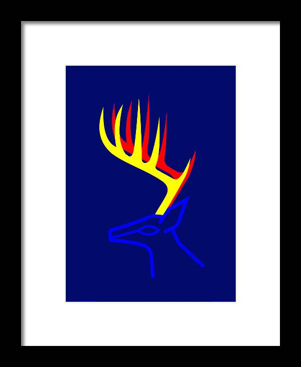 Framed Print featuring the digital art White Taled Deer by Asbjorn Lonvig