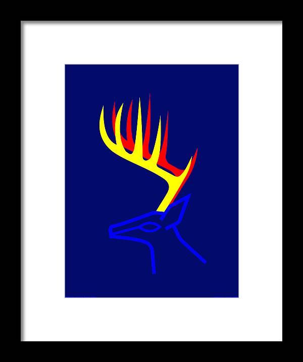 Framed Print featuring the digital art White Taled Deer by Asbjorn Lonvig