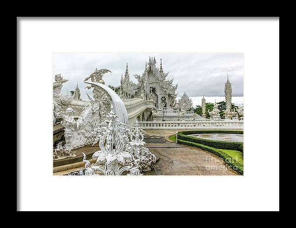 Buddhist Temple Framed Print featuring the photograph White Temple Thailand by Benny Marty