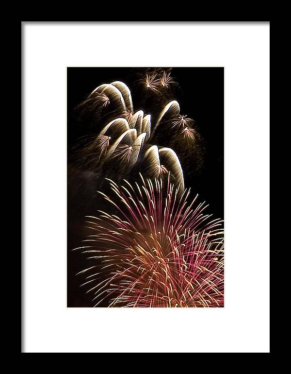 Fireworks Framed Print featuring the photograph White Trails by David Patterson
