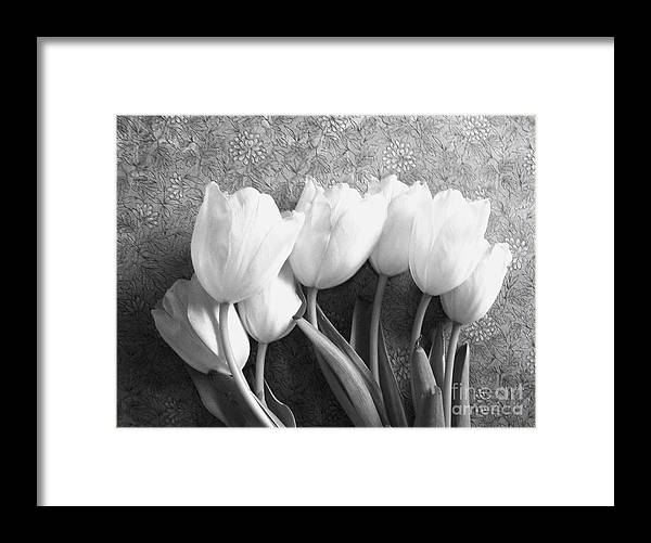 Photo's Framed Print featuring the photograph White Tulips Against Wallpaper by Marsha Heiken